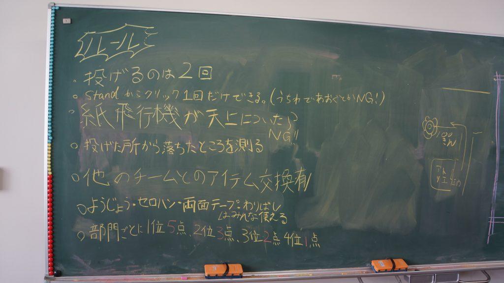 黒板にイベントのルールが書いてあります。